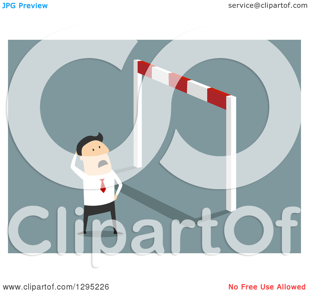 Clipart of a Flat Modern White Businessman Looking up at a Very.