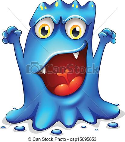 Clipart Vector of A very angry blue monster.