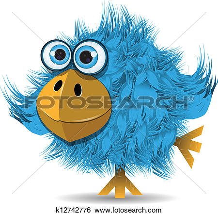 Clip Art of very funny blue bird k12742776.
