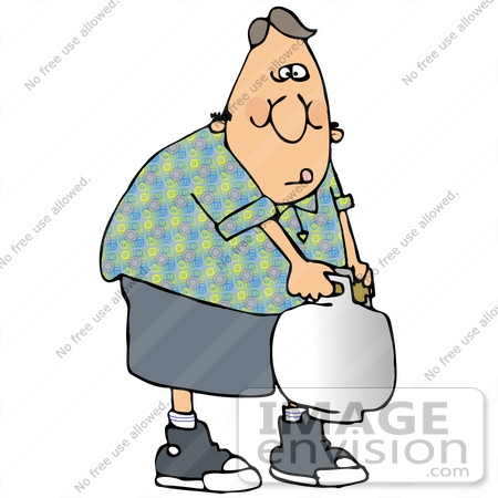 Clip Art Graphic of a Man Carrying A Very Heavy Propane Tank.