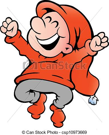 Clip Art Vector of illustration of an very happy elf.