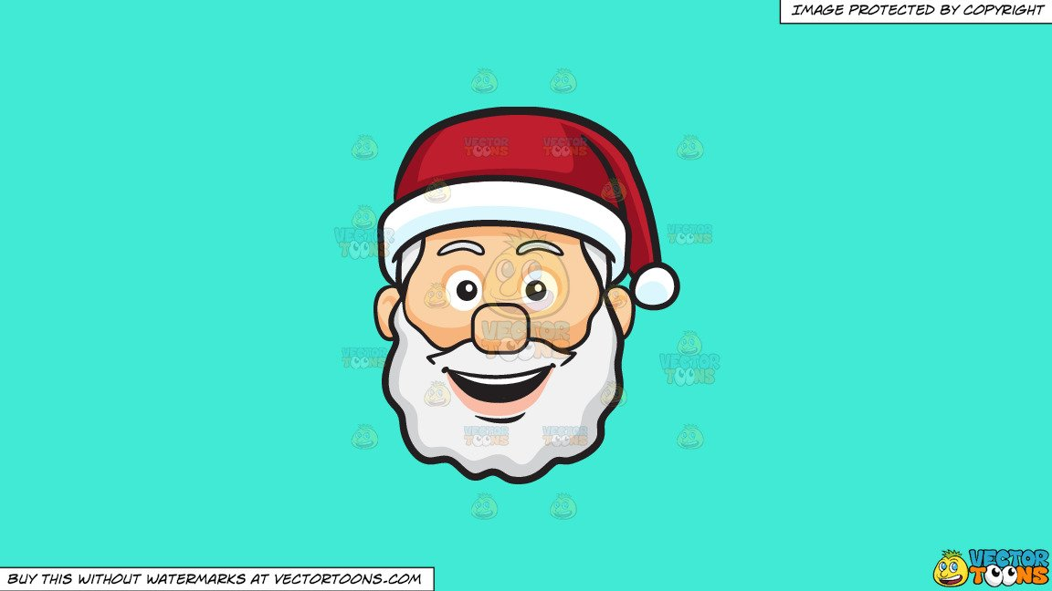 Clipart: A Very Happy Face Of Santa Claus on a Solid Turquiose 41Ead4  Background.
