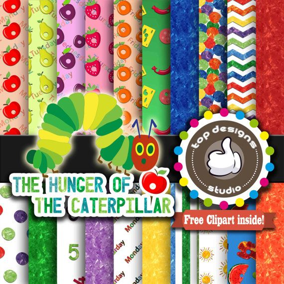 Hungry Caterpillar Digital Paper : Very Hungry by.