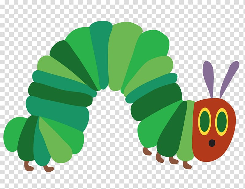 Green and red caterpillar illustration, The Very Hungry.