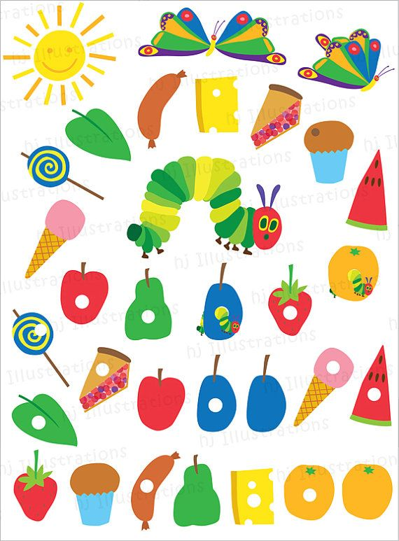 Very Hungry Caterpillar digital clipart by hjIllustrations.