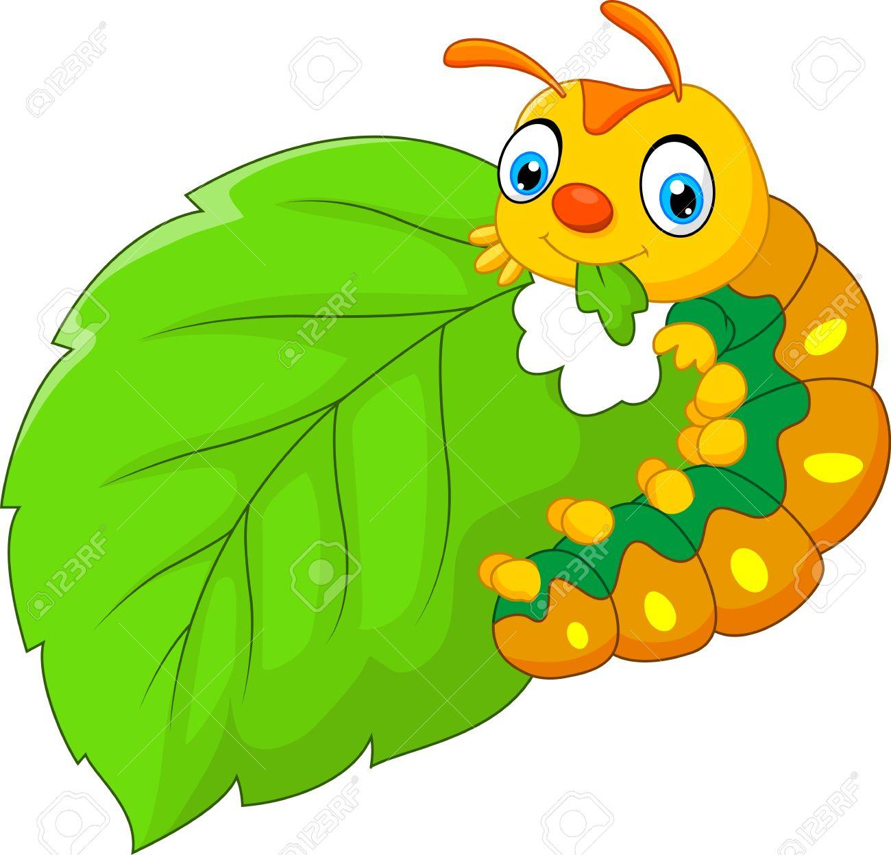 Caterpillar Eating Leaf Clipart.