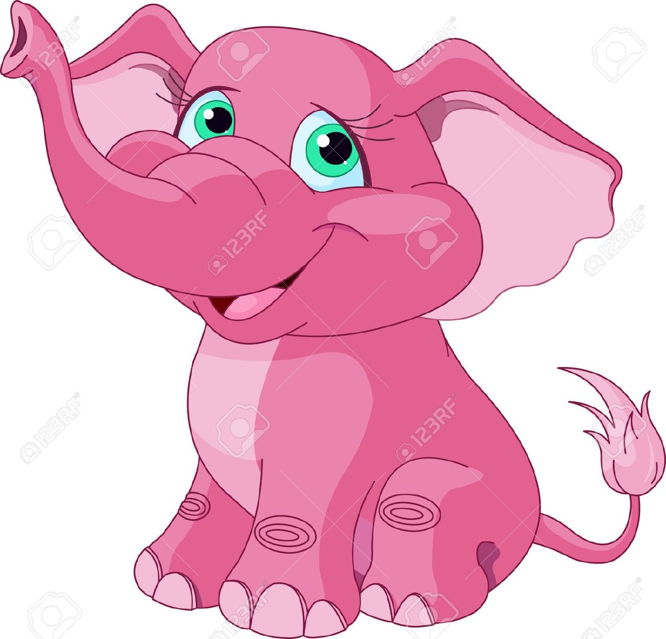 Very Cute Pink Elephant Royalty Free Cliparts, Vectors, And Stock.