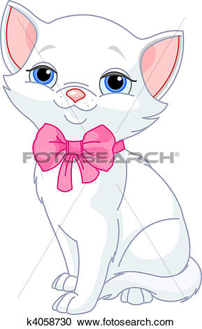 Clipart of Very Cute white cat k4058730.