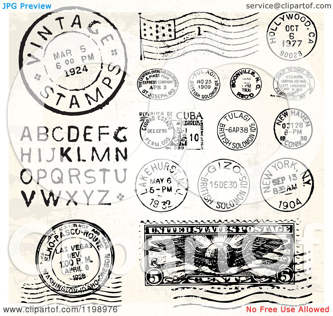 Clipart of Vintage Postmark Stamps and Letters.