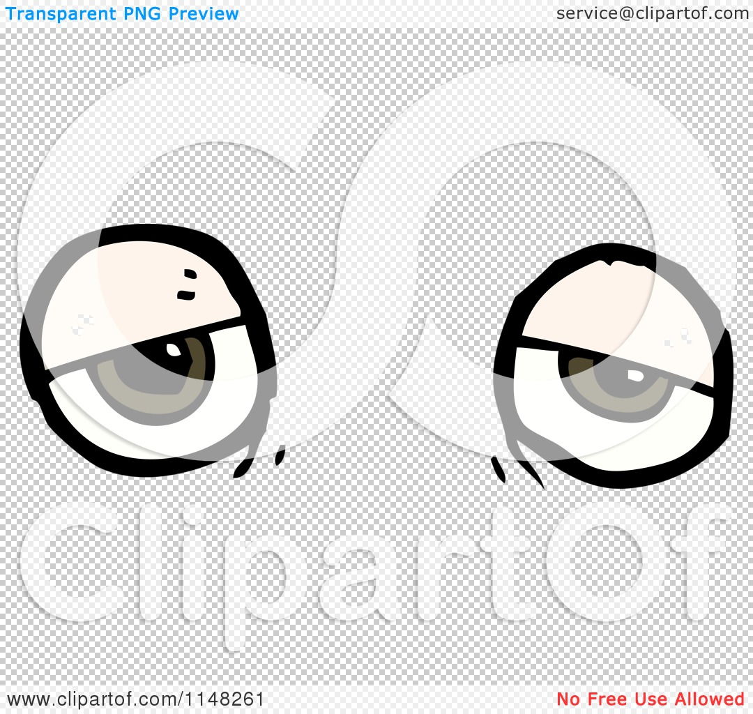 Cartoon of a Pair of Tired Eyes.