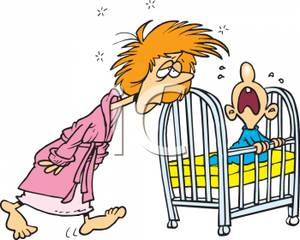 A Very Tired Mother Getting Her Screaming Baby From the Crib.