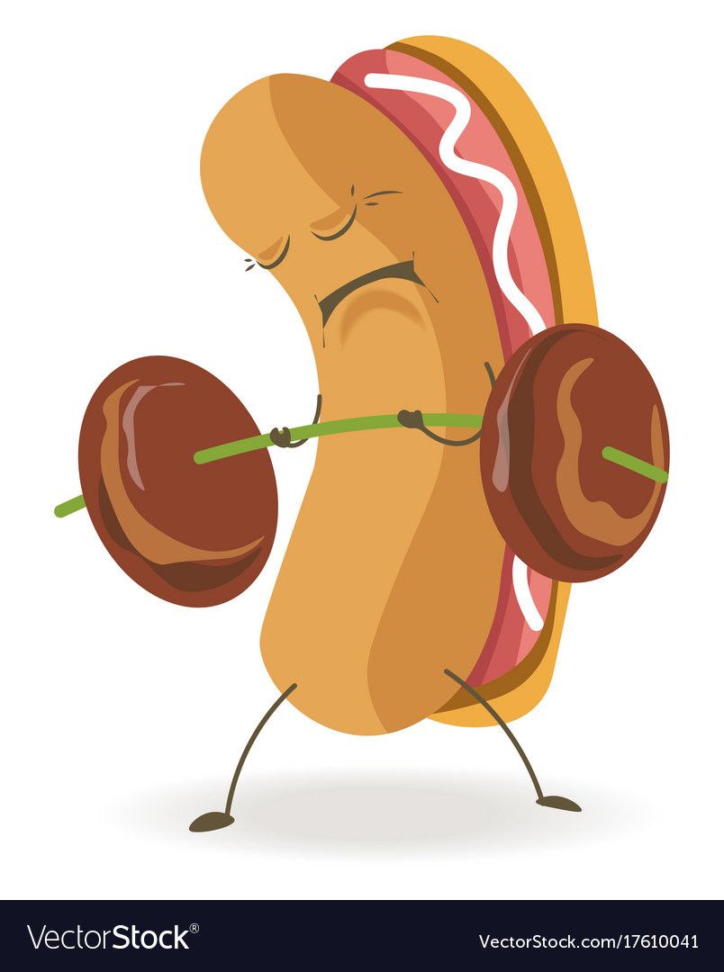 Soft hot dog with sad and tired face holds weight.