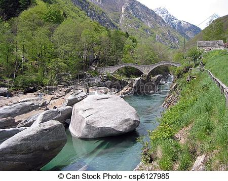 Stock Images of Ancient double arch stone bridge in Verzasca.