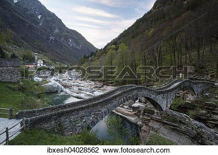 "Stock Photo of ""Ponte dei Salti, 17th century, Verzasca River."