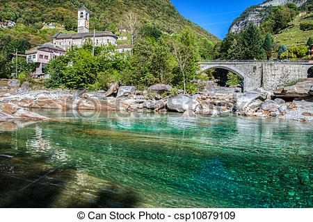 Stock Photography of Verzasca River landscape at Levertazzo.