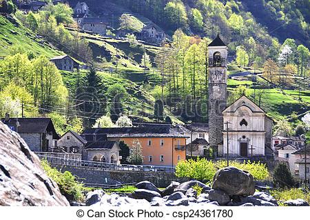 Pictures of Lavertezzo village in Verzasca valley, Swtzerland.