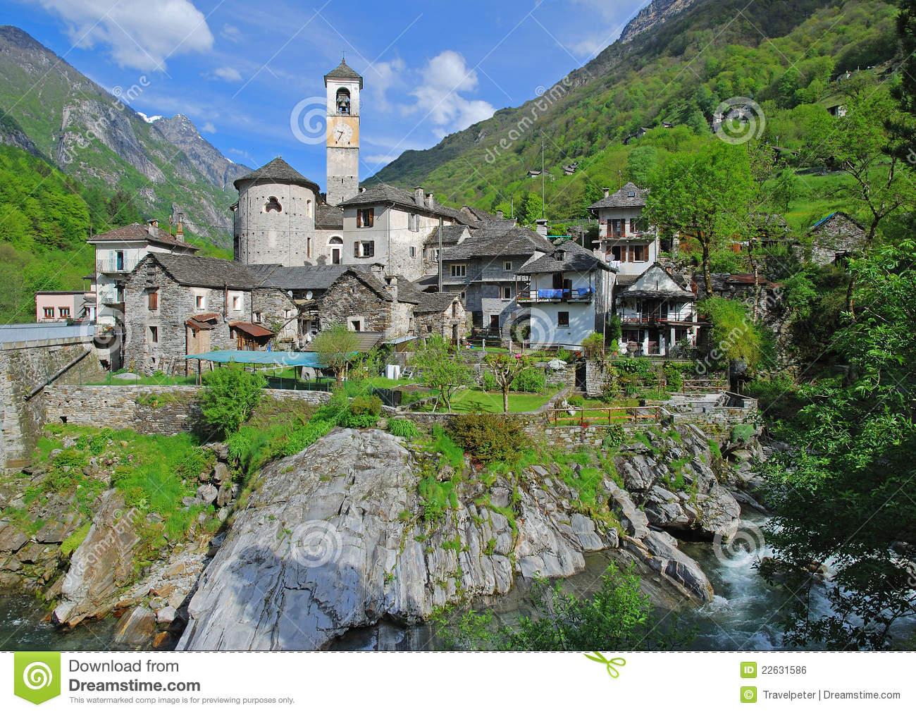 Lavertezzo,Verzasca Valley,Ticino Royalty Free Stock Image.