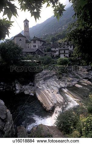 Stock Photo of Switzerland, Ticino, Val Verzasca, Lavertezzo.