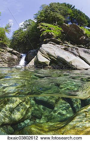 """Stock Photo of """"Split screen view, Verzasca River, Lavertezzo."""