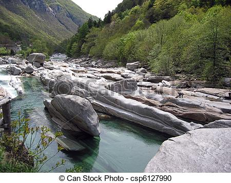 Stock Photography of Mountain river in Verzasca Valley.