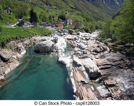Stock Photos of Mountain river in Verzasca Valley, Switzerland.