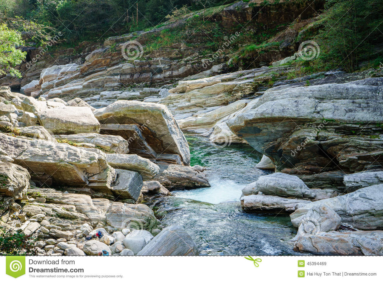 Verzasca Valley Ticino Switzerland Stock Photo.