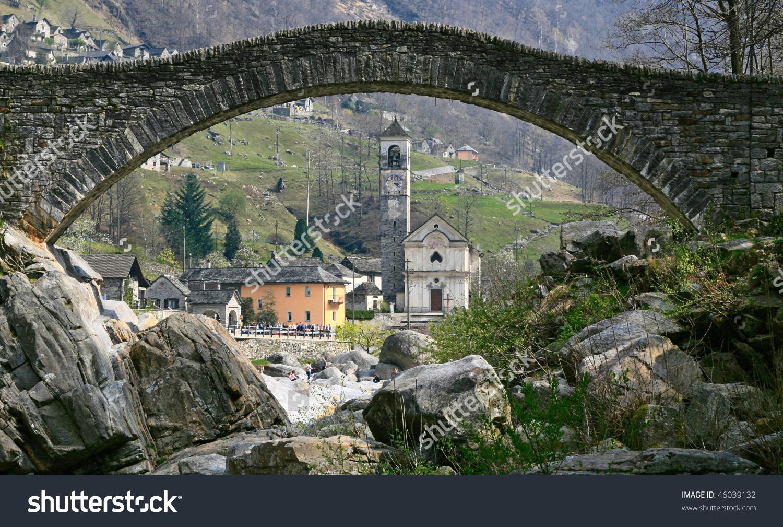 Ancient Stone Arch Bridge Verzasca Valley Stock Photo 46039132.