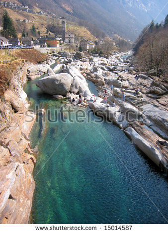 Mountain River In Verzasca Valley, Italian Part Of Switzerland.