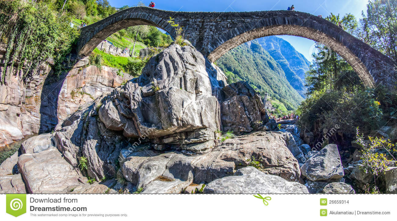 Ponte Dei Salti, Verzasca Valley, Switzerland Stock Images.