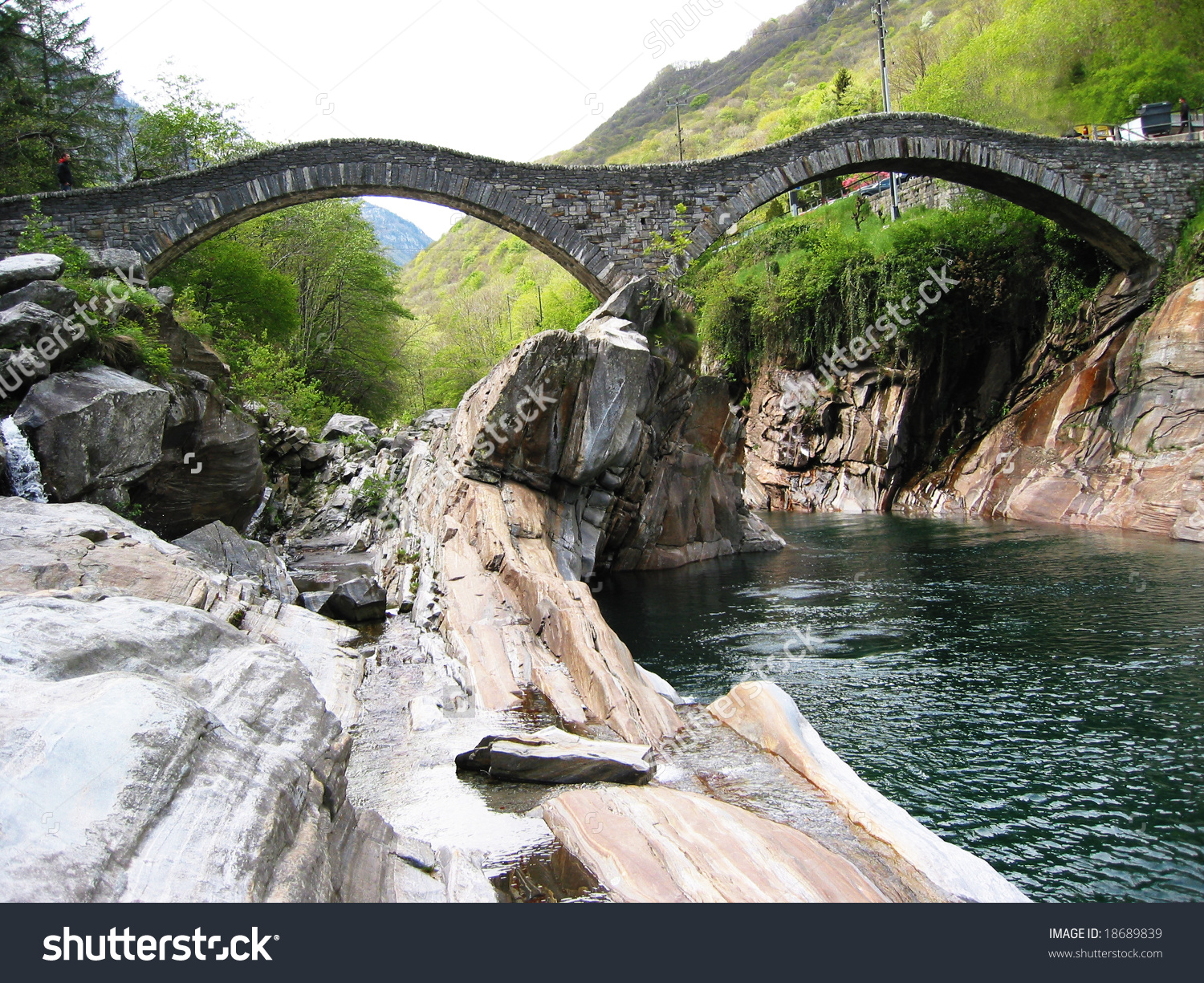 Famous Double Arch Bridge In Verzasca Valley, Southern Switzerland.