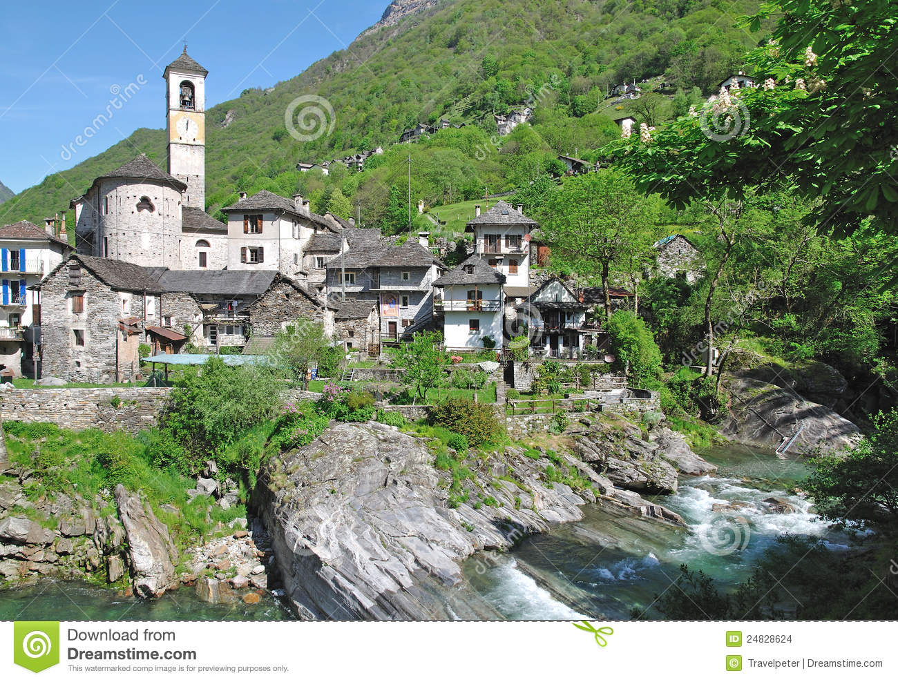 Lavertezzo,Verzasca Valley,Ticino Stock Images.