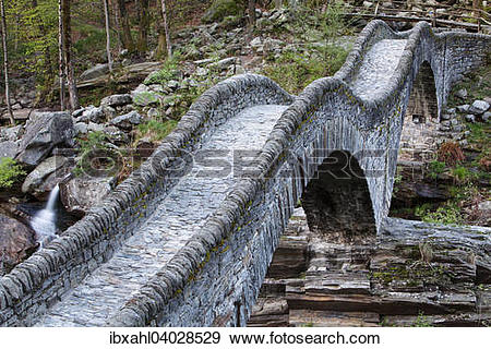 "Stock Photograph of ""Stone arch bridge Ponte dei Salti, Verzasca."