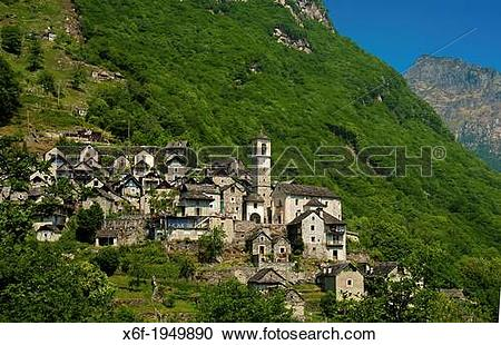 Stock Photography of The listed village of Corippo, the smallest.