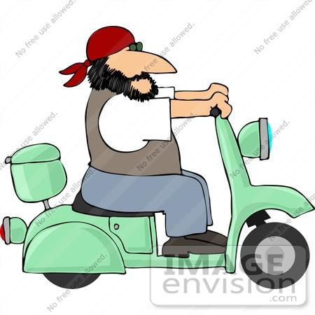 Biker Man Riding a Vespa Clipart.