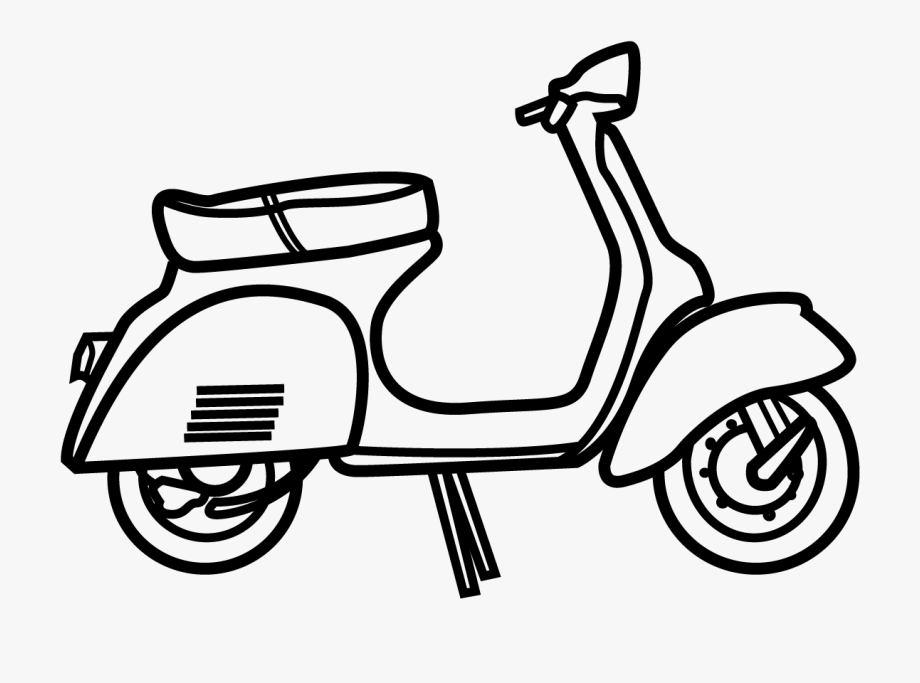 Vespa Clipart Black And White #2840768.