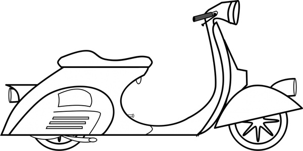 Vespa scooter vector illustration in black and white Free.