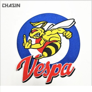 Quality Custom Large Vespa Logo Embroidered Patch For Bomber Jacket.