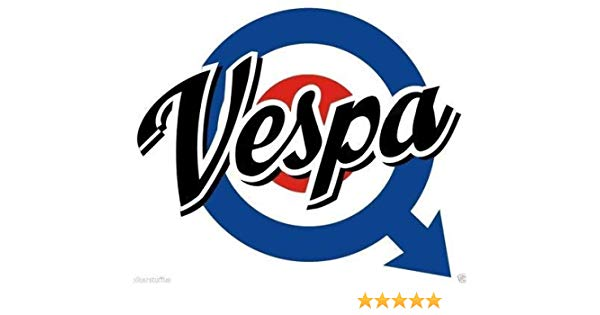 MFX Design Vespa Logo Scooter Bumper Sticker Decal Helmet Sticker Decal  Laptop Sticker Decal Vinyl.