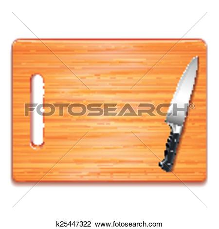 Clipart of Cutting board and knife isolated on white vector.