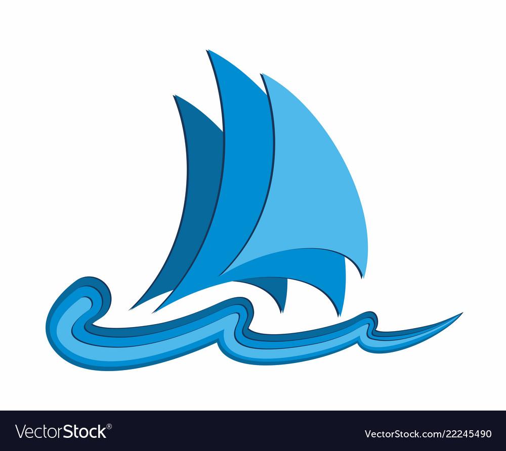 Logo of blue sailing vessel.