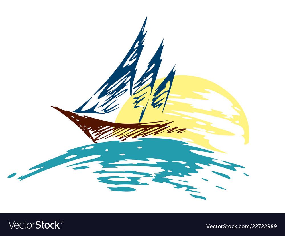 Sailing vessel logo in the sea.