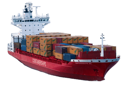 Container Ship transparent PNG.