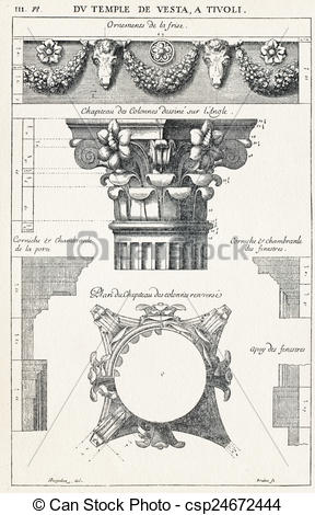 Drawing of From the temple of Vesta, in Tivoli.