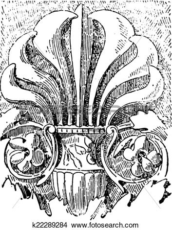 Clipart of Palmette at Temple of Vesta in Rome, vintage engraving.