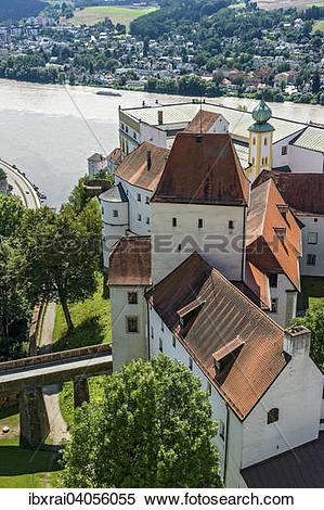 "Stock Image of ""Veste Oberhaus fortress, Dreiflusseeck, Passau."