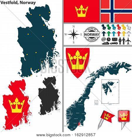 Map Of Vestfold, Norway Stock Vector & Stock Photos.