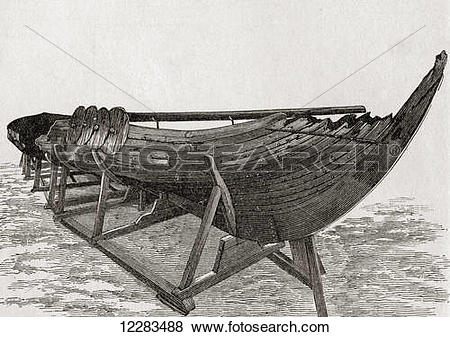 Pictures of The Gokstad Viking ship found in a burial mound at.