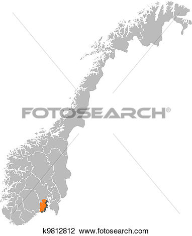 Clipart of Map of Norway, Vestfold highlighted k9812812.