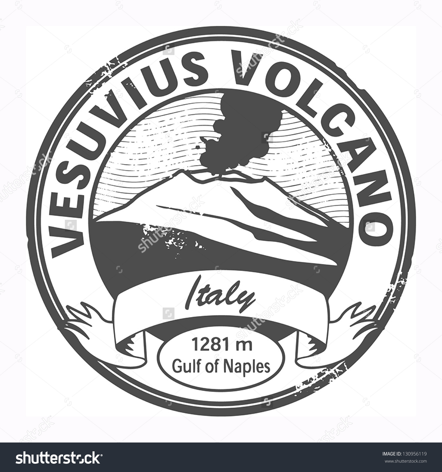 Grunge Stamp Words Vesuvius Italy Vector Stock Vector 130956119.