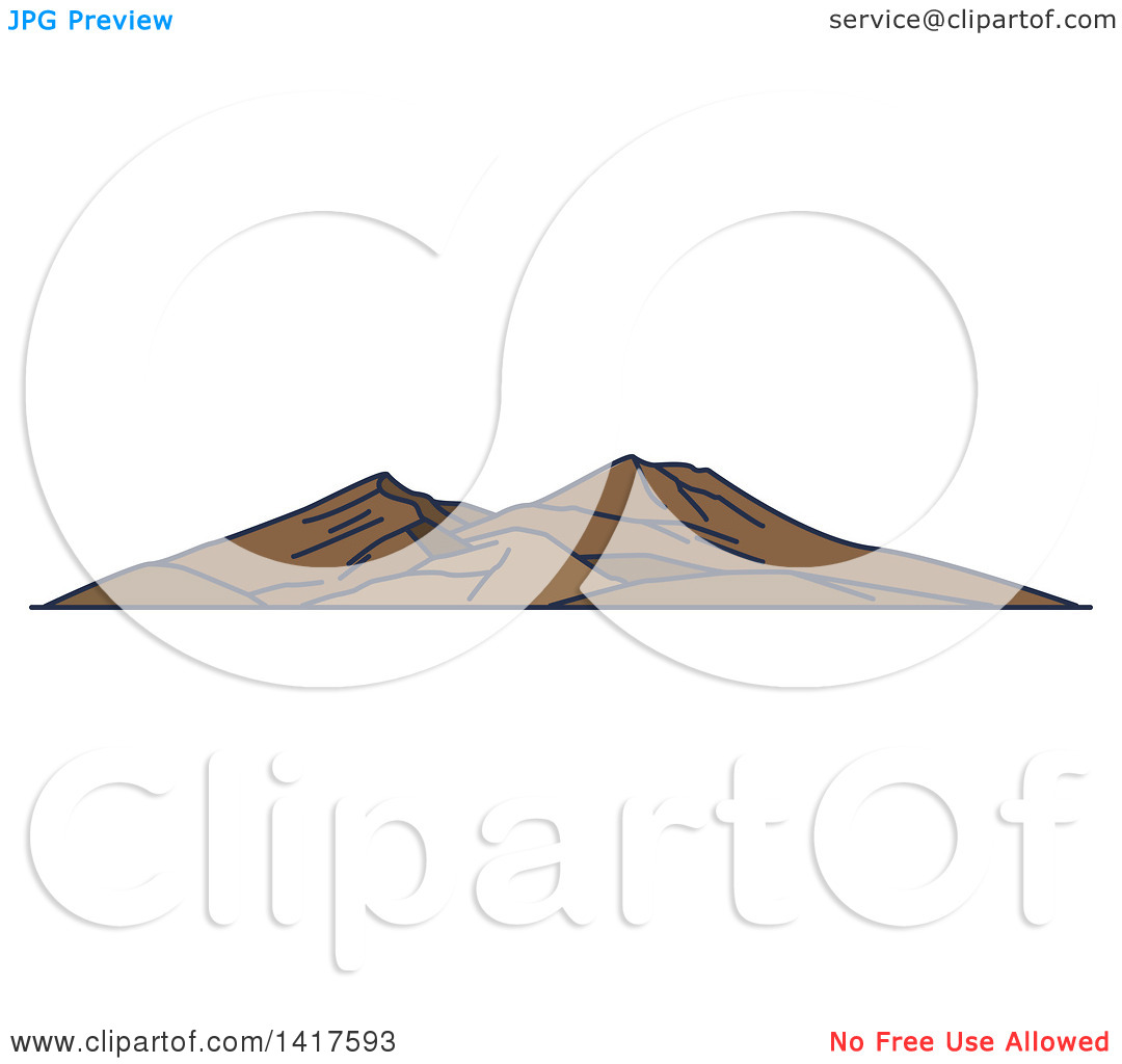 Clipart of a Sketched Italian Landmark, Mount Vesuvius.